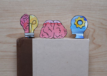 brain-themed paper clip bookmark craft